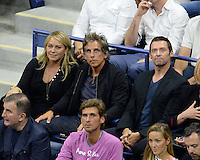 FLUSHING NY- SEPTEMBER 06: Christine Taylor, Ben Stiller and Hugh Jackmanare seen watching Novak Djokovic Vs Jo Wilfred Tsonga on Arthur Ashe Stadium at the USTA Billie Jean King National Tennis Center on September 6, 2016 in Flushing Queens. Credit: mpi04/MediaPunch