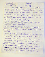 © Adam Patterson / Panos Pictures..Letter from Edison Pena to Dan McDougall....Edison Pena was the 12th miner to be freed from the San Jose mine in Chile where 33 miners were trapped for 69 days. He was the first to return home from hospital.
