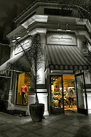 Tommy Bahama's, Specialty Clothing, Restaurant, El Paseo Drive, The Gardens, Palm Desert, CA,  Boutiques; famous; retailers; Dusk, Twilight, B/W High dynamic range imaging (HDRI or HDR)