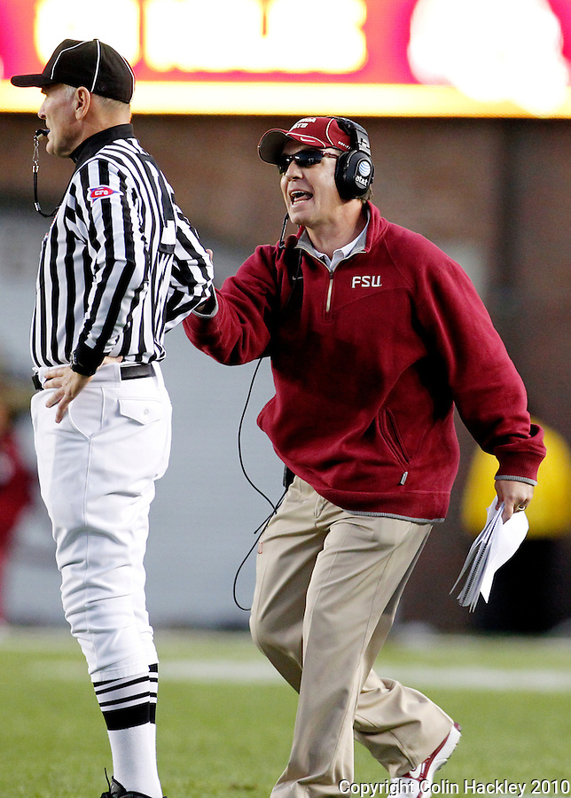 TALLAHASSEE, FL 11/27/10-FSU-UF FB10 CH-Florida State Head Coach Jimbo Fisher protests a call during the second half of the Florida game Saturday at Doak Campbell Stadium in Tallahassee. The Seminoles beat the Gators 31-7..COLIN HACKLEY PHOTO