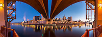 Panoramic image of the Saint Paul Minnesota skyline from under the Wabasha Street bridge.