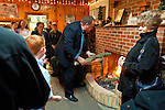 Christmas Eve Vigil Service at St. Sava Serbian Orthodox Church, Jackson, Calif.  Yule Log (badnjak) ceremony.--Placing the yule log on the hearth