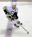 21 September 2009: Pittsburgh Penguins' defenseman Sergei Gonchar brings the puck across the blue line during a pre-season game against the Montreal Canadiens at the Bell Centre in Montreal, Quebec, Canada. The Canadiens edged out the defending Stanley Cup Champions 4-3. Mandatory Credit: Ed Wolfstein Photo