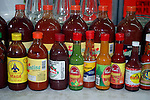 Americas, Mexico, Guanajuato.  A vareity of Mexican hot sauces and salsas.