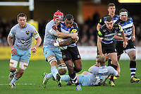 Semesa Rokoduguni of Bath Rugby takes on the Northampton Saints defence. Aviva Premiership match, between Bath Rugby and Northampton Saints on December 5, 2015 at the Recreation Ground in Bath, England. Photo by: Patrick Khachfe / Onside Images