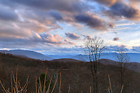 Leafless trees cover the mountains in early spring along the Blue Ridge Parkway in Nelson County, VA. Photo/Andrew Shurtleff