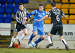 St Johnstone v St Mirren....22.01.11  .Peter MacDonald closed down by John Potter and Lee Mair.Picture by Graeme Hart..Copyright Perthshire Picture Agency.Tel: 01738 623350  Mobile: 07990 594431