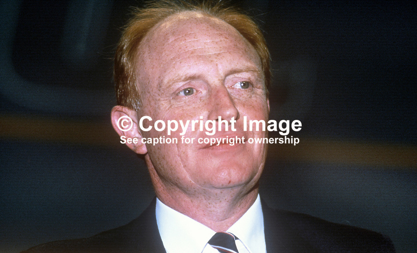 Neil Kinnock, leader, Labour Party, UK, speaking at his party's annual conference September 1986. 19860901NK7<br />