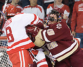 Ben Rosen (BU - 8), Chris Kreider (BC - 19) - The visiting Boston College Eagles defeated the Boston University Terriers 3-2 to sweep their Hockey East series on Friday, January 21, 2011, at Agganis Arena in Boston, Massachusetts.