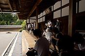 The zen rock garden at Ryoanji Temple and gardens, Kyoto, Japan.