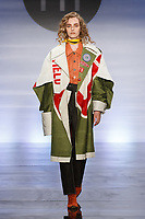 Model walks runway in an outfit by Dan Yongeun Lee, during the Future of Fashion 2017 runway show at the Fashion Institute of Technology on May 8, 2017.