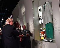United States President Donald Trump looks at the Ben Carson exhibit as he visits the Smithsonian National  Museum of African American History and Culture in Washington, DC on February 21, 2017. <br /> Credit: Kevin Dietsch / Pool via CNP /MediaPunch