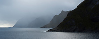 Mountain silhouettes dissapear into the sea, &Aring; I Lofoten, Lofoten Islands, Norway