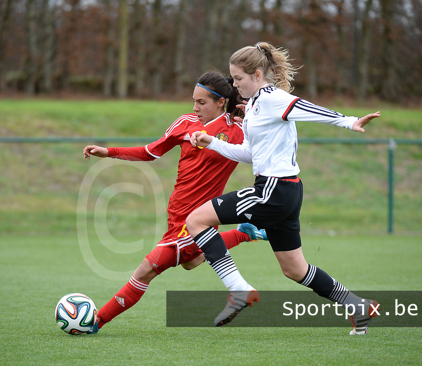 20151128 - Tubize , Belgium : Belgian Anais Bey Tem Samani (L) and German Laura Haas (R) pictured during the female soccer match between Women under 16 teams of  Belgium and Germany , in Tubize . Saturday 28th November 2015 . PHOTO DIRK VUYLSTEKE