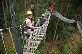 Walking across bridge to next platform, Ziplining on the Big island with Kohala zipline