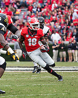 The Georgia Bulldogs beat the App State Mountaineers 45-6 in their homecoming game.  After a close first half, UGA scored 31 unanswered points in the second half.  Georgia Bulldogs wide receiver Jonathon Rumph (18)