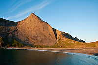 Evening light over Bunes Beach, Moskenesoy, Lofoten islands, Norway