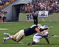 Pitt defensive tackle Chas Alecxih (98) brings down a Bull player. The Pittsburgh Panthers beat the Buffalo Bulls 35-16 at Heinz field in Pittsburgh, Pennsylvania on September 3, 2011