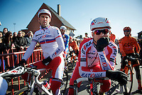 Alexander Kristoff (NOR) &amp; teammate (Russian Champion) Vladimir Isaichev (RUS) at the start<br /> <br /> Kuurne-Brussel-Kuurne 2014