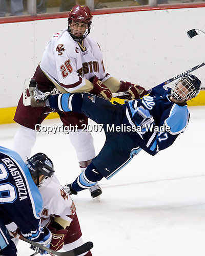 Nick Petrecki (BC 26), Chris Hahn (Maine 37) - The Boston College Eagles and University of Maine Black Bears played to a 1-1 tie on Friday, November 2, 2007, at Kelley Rink at Conte Forum in Chestnut Hill, Massachusetts.