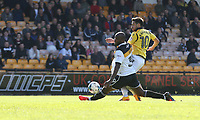 Bolton Wanderers' Jem Karacan has this shot blocked by Port Vale's Andre Bikey<br /> <br /> Photographer Stephen White/CameraSport<br /> <br /> The EFL Sky Bet League One - Port Vale v Bolton Wanderers  - Saturday 22nd April 2017 - Vale Park - Burslem<br /> <br /> World Copyright &copy; 2017 CameraSport. All rights reserved. 43 Linden Ave. Countesthorpe. Leicester. England. LE8 5PG - Tel: +44 (0) 116 277 4147 - admin@camerasport.com - www.camerasport.com