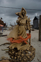 Quintana Roo, Mexico. Friday, August 24, 2007.  La Santa Muerte (the Death Saint) was erected by locals to protect Mahahual. The town of Mahahual was where category 5 Hurricane Dean first made landfall in Mexico, with winds of 300km/h it was where most of the damage was suffered.