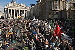 Credit Crunch protest outside Bank of England Threadneedle Street. April 1st 2009. Crowds of protesters gather in the street Stop the City of London protest.