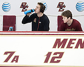 Kevin Hayes (BC - 12), Thatcher Demko (BC - 30) - The visiting University of Notre Dame Fighting Irish defeated the Boston College Eagles 2-1 in overtime on Saturday, March 1, 2014, at Kelley Rink in Conte Forum in Chestnut Hill, Massachusetts.