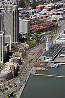 aerial photograph the Embarcadero, Ferry Building, San Francisco, California