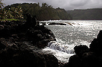 The northeast coast of Maui is rugged and sparsely populated with communities like Keanae, <br /> Hawaii.