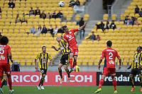 Matthew Ridenton and Cameron Watson during the A League - Wellington Phoenix v Adelaide United, Wellington, New Zealand on Sunday 30 March 2014. <br /> Photo by Masanori Udagawa. <br /> www.photowellington.photoshelter.com.