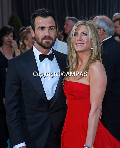 JUSTIN THEROUX and JENNIFER ANISTON..Red Carpet Arrivals at the OSCARS - 85th Annual Academy Awards, Dolby Theatre, Hollywood_24/02/2013.MANDATORY PHOTO CREDIT: ©Ampas/NEWSPIX INTERNATIONAL . .(Failure to by-line the photograph will result in an additional 100% reproduction fee surcharge. You must agree not to alter the images or change their original content)..            *** ALL FEES PAYABLE TO: NEWSPIX INTERNATIONAL ***..IMMEDIATE CONFIRMATION OF USAGE REQUIRED:Tel:+441279 324672..Newspix International, 31 Chinnery Hill, Bishop's Stortford, ENGLAND CM23 3PS.Tel: +441279 324672.Fax: +441279 656877.Mobile: +447775681153.e-mail: info@newspixinternational.co.uk