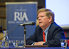 Aug. 30, 2012; Professor Robert Schmuhl speaks at the Notre Dame 1916 Dublin Conference at the Royal Irish Academy in Dublin...Photo by Matt Cashore/University of Notre Dame