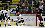 "19 January 2007: University of Vermont goaltender Joe Fallon from Bemidji, MN, gives up a goal during a game against Boston College at Gutterson Fieldhouse in Burlington, Vermont. The UVM Catamounts defeated the BC Eagles 3-2 before a record setting 50th consecutive sellout at ""the Gut""...Mandatory Photo Credit: Ed Wolfstein Photo."