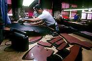 """Perth Amboy, New Jersey, U.S.A, February, 1989. The """"Perfecto"""" factory where the famous leather jackets are made. Bomber pilots and Harley-Davidson buffs adopted them, as did James Dean and Elvis Presley. The Perfecto has become a myth."""
