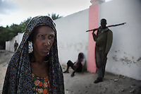 Mogadishu/Somalia 2012 - Woman by the entrance of the feeding center for people with disabilities.