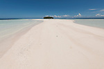 White sandy beach of one of the Raja Ampat islands