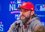 7 October 2016: Washington Nationals starting pitcher for Game 2, Tanner Roark, addresses the media prior to the first game of the NLDS against the Los Angeles Dodgers at Nationals Park in Washington, DC. The Dodgers edged out the Nationals 4-3 to take the first game of their best-of-five series. Mandatory Credit: Ed Wolfstein Photo *** RAW (NEF) Image File Available ***