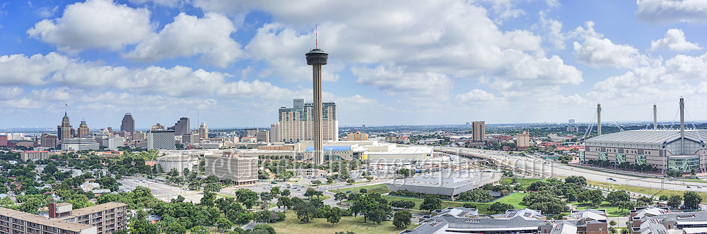 This is one of my favorite aerial skyline of San Antonio which includes the downtown view of the Tower of Americas, or Hemisphere, the Alamo Dome, UT SA, The Grand Hyatt, Weston Center, Tower Life, Bank of America and many others high-rises along the famos River Walk in SA.