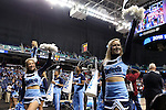27 March 2015: UNC cheerleaders. The University of North Carolina Tar Heels played the University of South Carolina Gamecocks at the Greensboro Coliseum in Greensboro, North Carolina in a 2014-15 NCAA Division I Women's Basketball Tournament regional semifinal game. South Carolina won the game 67-65.
