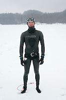 Christian Maldamé from France. Freediving competition Oslo Ice Challenge at freshwater lake Lutvann outside the Norwegian capital Oslo.
