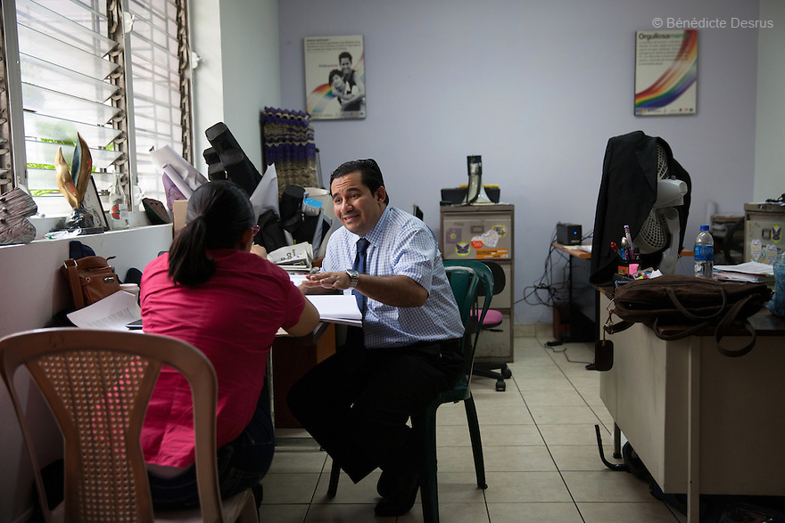 """Dennis Estanley Muñoz Rosa, a lawyer working with rights groups to free women in prison on abortion charges, during a meeting at """"La Casa de Todas"""" in San Salvador, El Salvador on June 10, 2015. Abortion in El Salvadorisillegal. The law formerly permitted an abortion to be performed under some limited circumstances, but, in 1998, all exceptions were removed when a newabortion law went into effect. Photo by Bénédicte Desrus"""