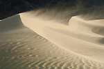 Sand dunes on a windy day at Mesquite Flats in Death Valley