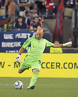 New England Revolution goalkeeper Matt Reis (1). In a Major League Soccer (MLS) match, the New England Revolution tied the Chicago Fire, 1-1, at Gillette Stadium on June 18, 2011.