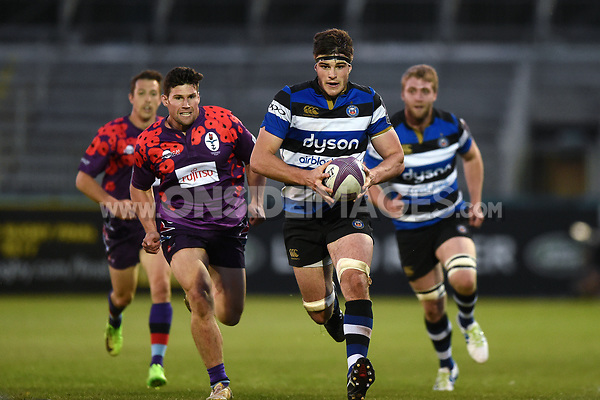 Josh Bayliss of Bath United goes on the attack. Remembrance Rugby match, between Bath United and the UK Armed Forces on May 10, 2017 at the Recreation Ground in Bath, England. Photo by: Patrick Khachfe / Onside Images