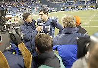 27 Nov 2005:   Seattle Seahawks wide receiver Joe Jurevicius gets interviewed by Fox TV host Tony Seragusa after helping the Seattle Seahawks defeat the New York Giants at Qwest Field in Seattle, Washington.