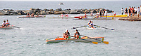 San Remo, ITALY,  Sat. W2X,  crews wait to beach there boats after the final at the FISA Coastal World Championships. Saturday 18/10/2008.[Photo, Peter Spurrier/Intersport-images] Coastal Rowing Course: San Remo Beach, San Remo, ITALY