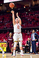 College Park, MD - NOV 16, 2016: Maryland Terrapins guard Kristen Confroy (12) hits a jump shot during game between Maryland and Maryland Eastern Shore Lady Hawks at XFINITY Center in College Park, MD. The Terps defeated the Lady Hawks 106-61. (Photo by Phil Peters/Media Images International)