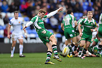 Theo Brophy-Clews of London Irish puts boot to ball. Aviva Premiership match, between London Irish and Exeter Chiefs on February 21, 2016 at the Madejski Stadium in Reading, England. Photo by: Patrick Khachfe / JMP