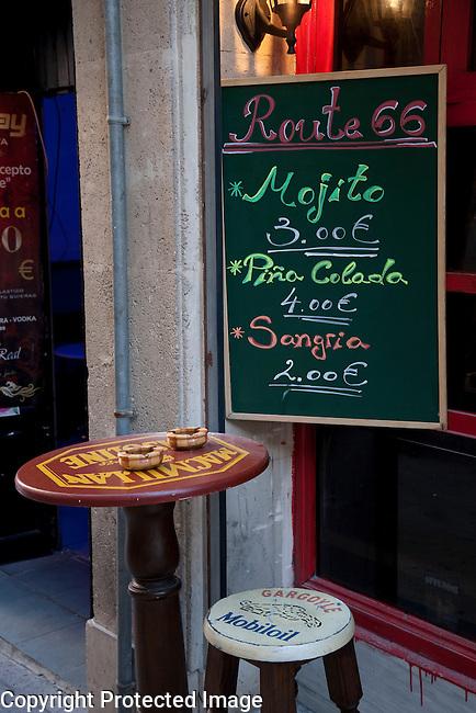 Drinks Menu in Route 66 Bar, Alicante, Spain